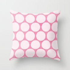 pink and white polka dots Throw Pillow