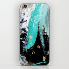 Fairy Dreams: an abstract mixed media piece in black, white, teal, and gold iPhone Skin