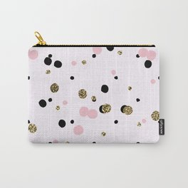 Pink Black Gold Party Dots Carry-All Pouch