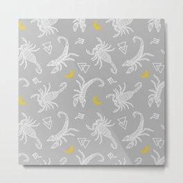 Scorpio Moon on Grey Metal Print