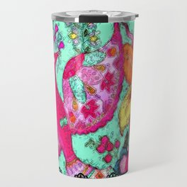 Bird and Flowers with lace Travel Mug