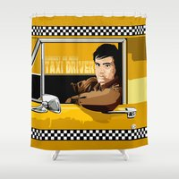 taxi driver Shower Curtains featuring Yellow Taxi driver Travis Bickle Robert De Niro iPhone 4 4s 5 5c, ipad, pillow case tshirt and mugs by Three Second