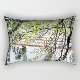 RAINY SPRING DAY AT THE DOCK IN THE WOODS Rectangular Pillow
