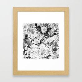 Black gray modern watercolor roses floral pattern Framed Art Print