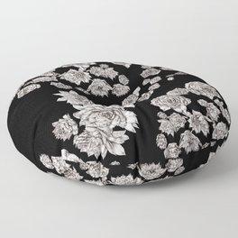 sempervivum on black background Floor Pillow