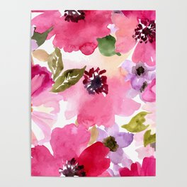 Watercolor Flowers Pink Fuchsia Poster