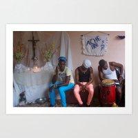 Santeria Musicians, Havana Art Print