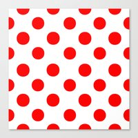 polka dots Canvas Prints featuring Polka Dots (Red/White) by 10813 Apparel