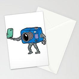 robot camera making selfie Stationery Cards