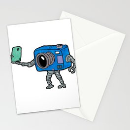 robot camera making selfie Stationery Cards
