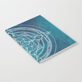 White Mandala - Dusky Blue/Turquoise Notebook