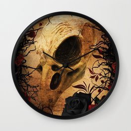 Ravens & Roses Wall Clock