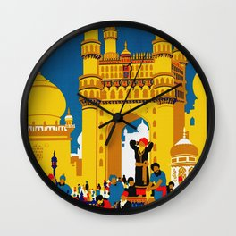 Vintage Hyderabad India Travel Poster Wall Clock