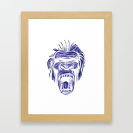 GORILLA KING KONG - Blue Framed Art Print