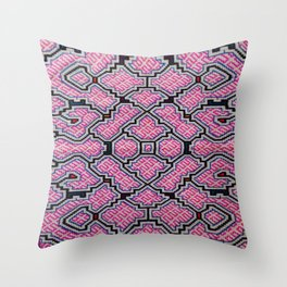 Song of Bringing Things Together - Traditional Shipibo Art - Indigenous Ayahuasca Patterns Throw Pillow