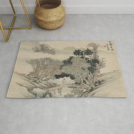 Vintage Japanese Landscape Painting Rug