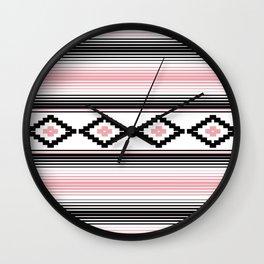 Modern Mexican Serape in Pink Wall Clock