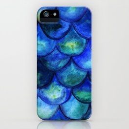 Blue Watercolor Mermaid iPhone Case