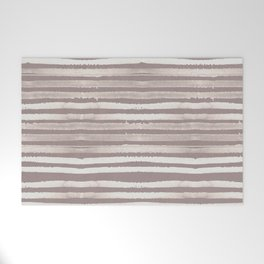 Simply Shibori Stripes Lunar Gray and Red Earth Welcome Mat
