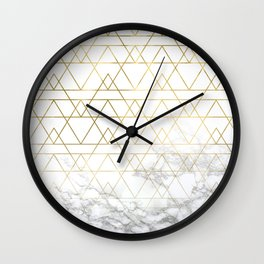 Gold Geometric Marble Deco Design Wall Clock