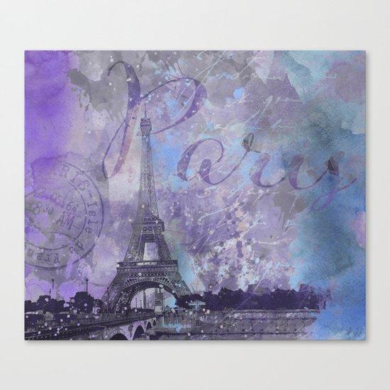 Purple Paris mixed media art Canvas Print
