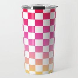 Pink Yellow Checkerboard Gradient Travel Mug