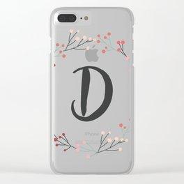 Floral Initial Wreath Monogram D Clear iPhone Case