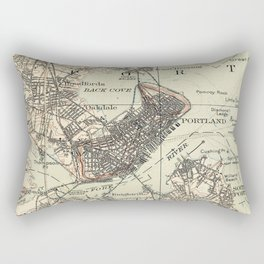 Vintage Map of Portland Maine (1914) Rectangular Pillow