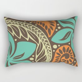 Circular Polynesian Blue Brown Orange Floral Tattoo Rectangular Pillow
