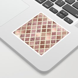 Rosegold Pink and Copper Moroccan Tile Pattern Sticker