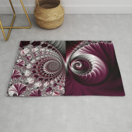 Fractal Art. Gray and Dark Plum Colours. Abstract pattern. Rug