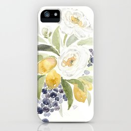Watercolor Flowers with Blueberries iPhone Case