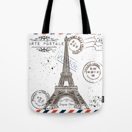 Art hand drawn design with Eifel tower. Old postcard style Tote Bag