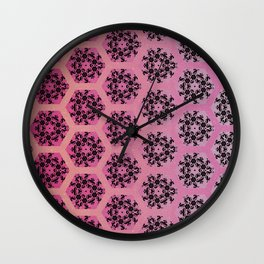 Black and Pinks Honeycomb Illusion Graphic Design Pattern Wall Clock