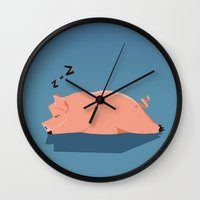 pig Wall Clocks featuring Pig by C.t. Chain