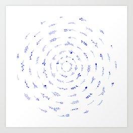 Minimalist Spring Floral Cyclone (Blue) Art Print