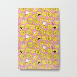 Flower Power Retro Pink and Yellow Floral Print Metal Print