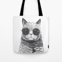 anaconda Tote Bags featuring cool cat by Polkip