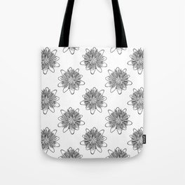 Passionflower Black and White Flower Illustrated Print Tote Bag