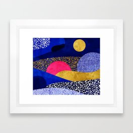 Terrazzo galaxy blue night yellow gold pink Framed Art Print