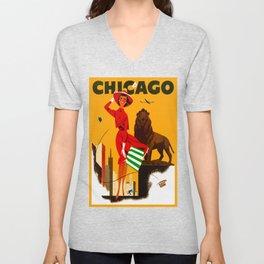 Vintage Chicago Illinois Travel Unisex V-Neck