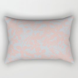 Soft Pink & Gray Floral Silhouette Pattern - Broken but Flourishing Rectangular Pillow