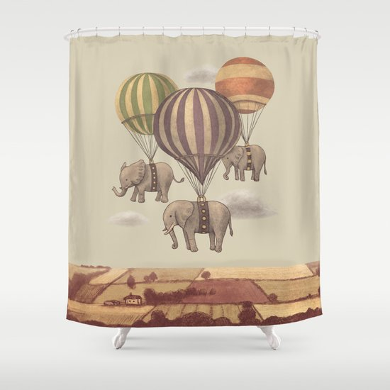 Flight of the Elephants  Shower Curtain