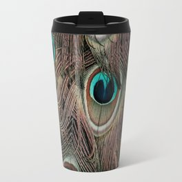 Peacock feathers abstract Travel Mug