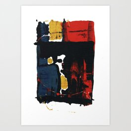 Primary Color Red Yellow Blue Abstract Black Intriguing Figurative Art Print