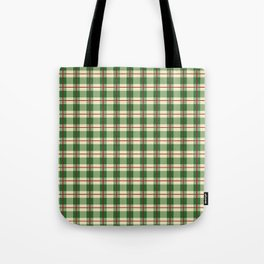 Plaid Pattern in Green and Beige Tote Bag