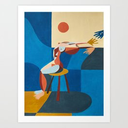 Woman and window Art Print