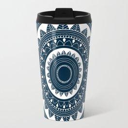 Ukatasana white mandala on blue Travel Mug