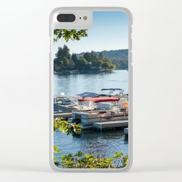 Overlooking a pier and boats on Lake Arrowhead, CA Clear iPhone Case
