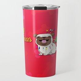 Koko Pug Christmas Red Travel Mug